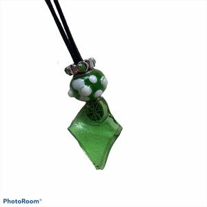 Green Beach Glass Beaded Suede Necklace Art Deco